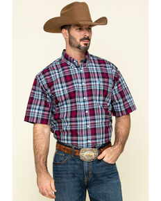 Cinch Men's Multi Plaid Plain Weave Short Sleeve Western Shirt , Multi, hi-res