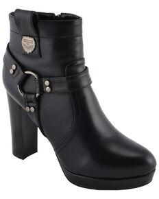 Milwaukee Leather Women's Block Heel Harness Booties - Medium Toe, Black, hi-res