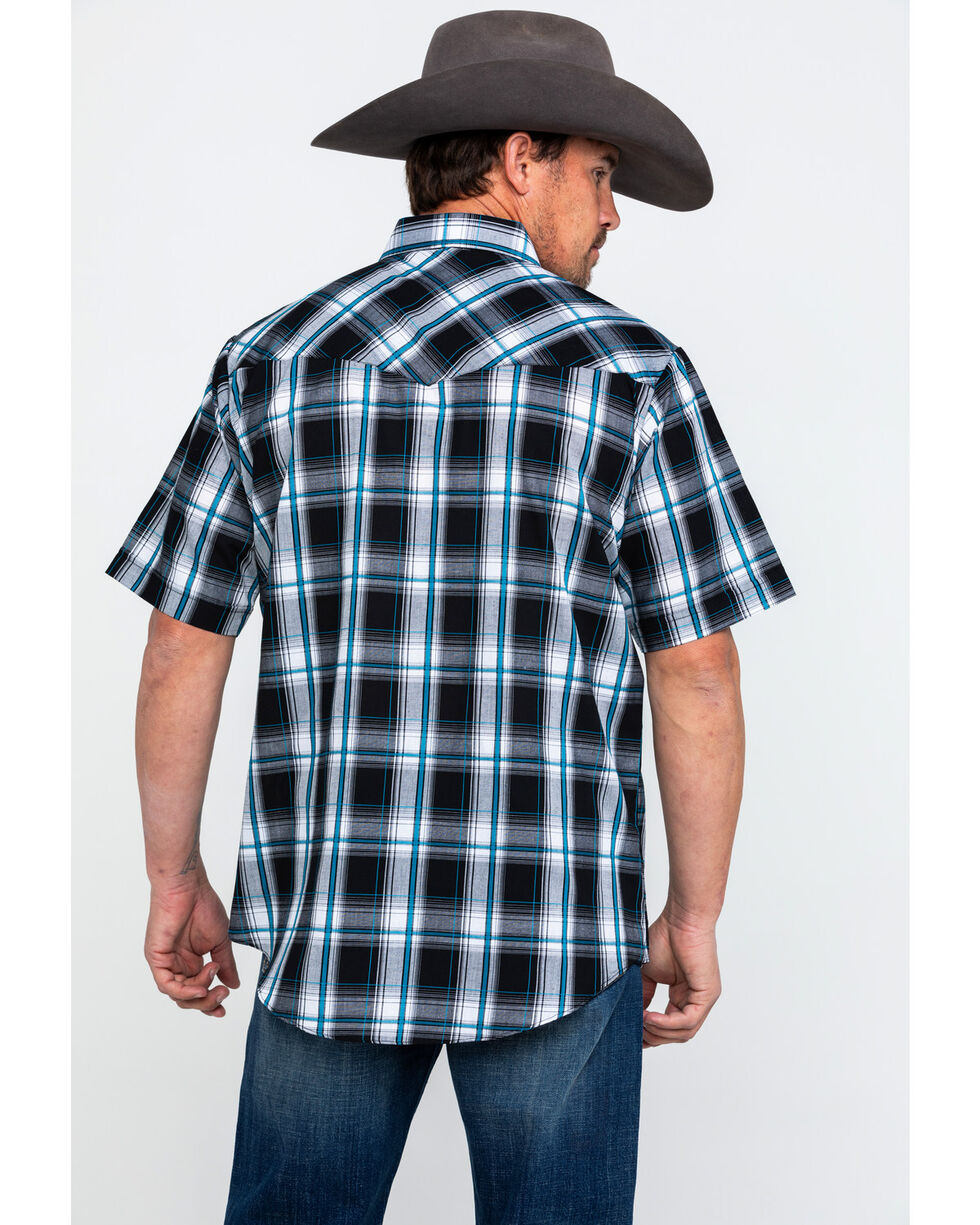 Ely Cattleman Men's Sawtooth Textured Plaid Short Sleeve Western Shirt , Black, hi-res