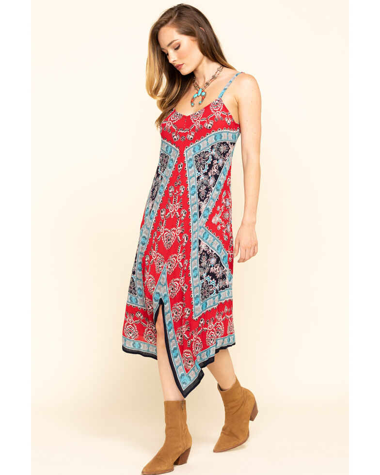 Bila Women's Border Print Hanky Hem Slip Dress, Red/white/blue, hi-res