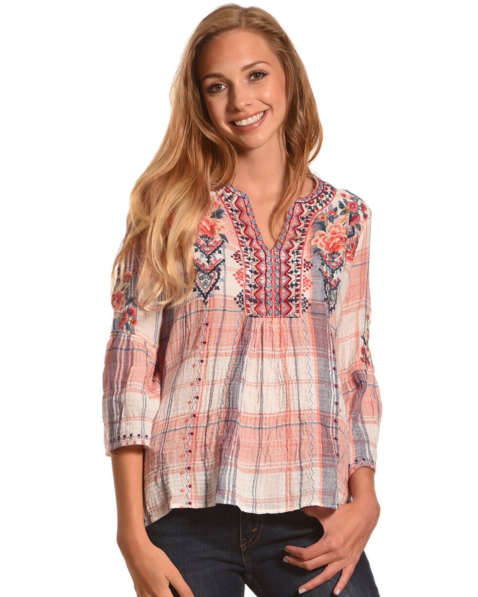 Johnny Was Women's Evia Plaid Marion Blouse , Tan, hi-res