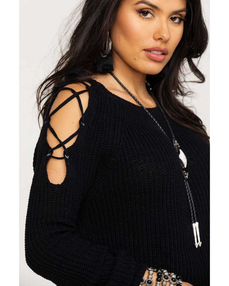 Red Label by Panhandle Women's Cold Shoulder Lace Up Sweater , Black, hi-res