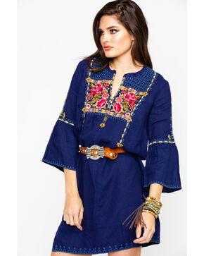 Johnny Was Women's Axton Flute Sleeve Tunic Dress , Navy, hi-res