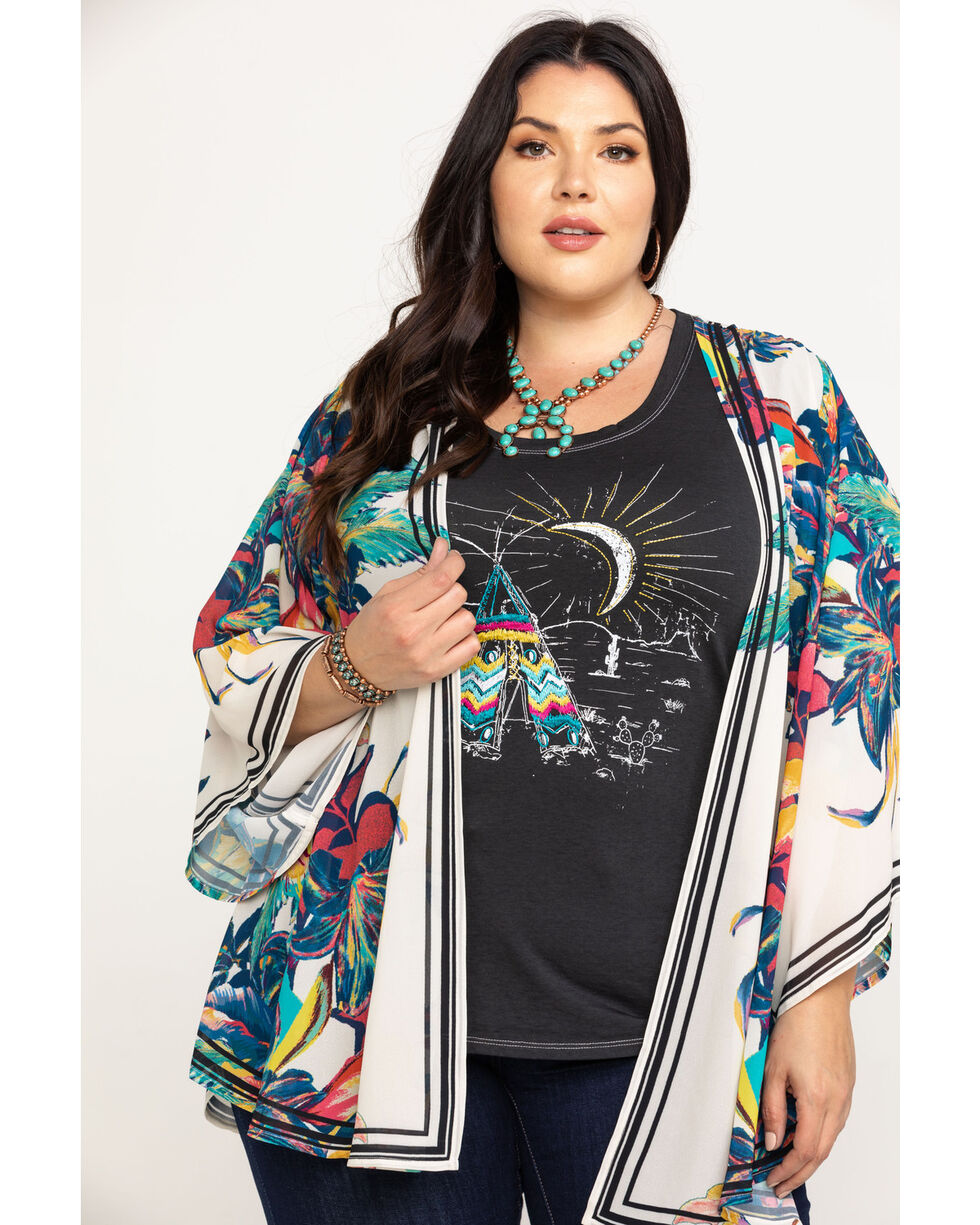Flying Tomato Women's Floral Kimono - Plus, Ivory, hi-res