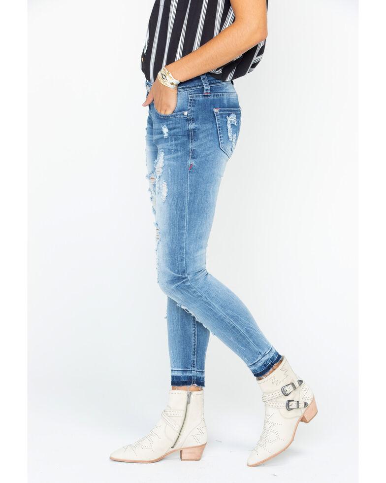 Grace in LA Women's Distressed Patch Skinny Jeans , , hi-res