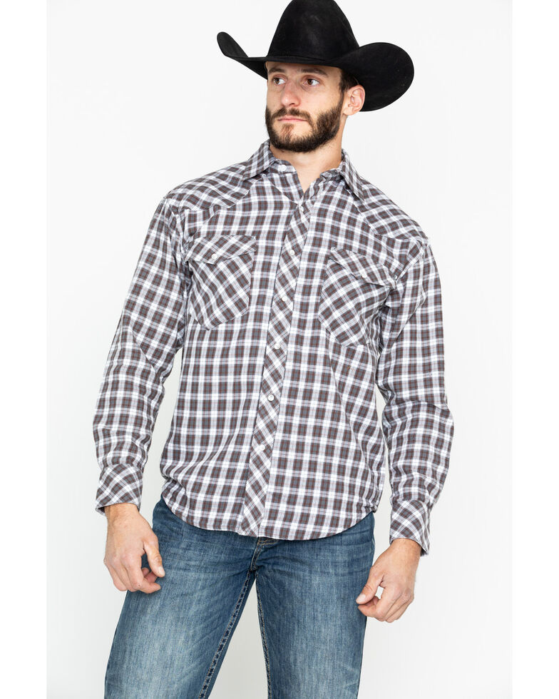 Resistol Men's Magnum Plaid Long Sleeve Western Shirt , Navy, hi-res