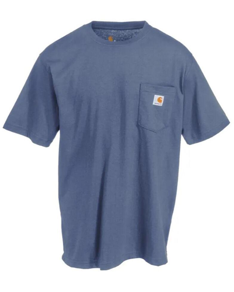 Carhartt Men's Solid Pocket Short Sleeve Work T-Shirt, Blue Stone, hi-res