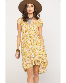 b4cda3f3b7 Shyanne Women s Mustard Paisley Patchwork Off Shoulder Dress