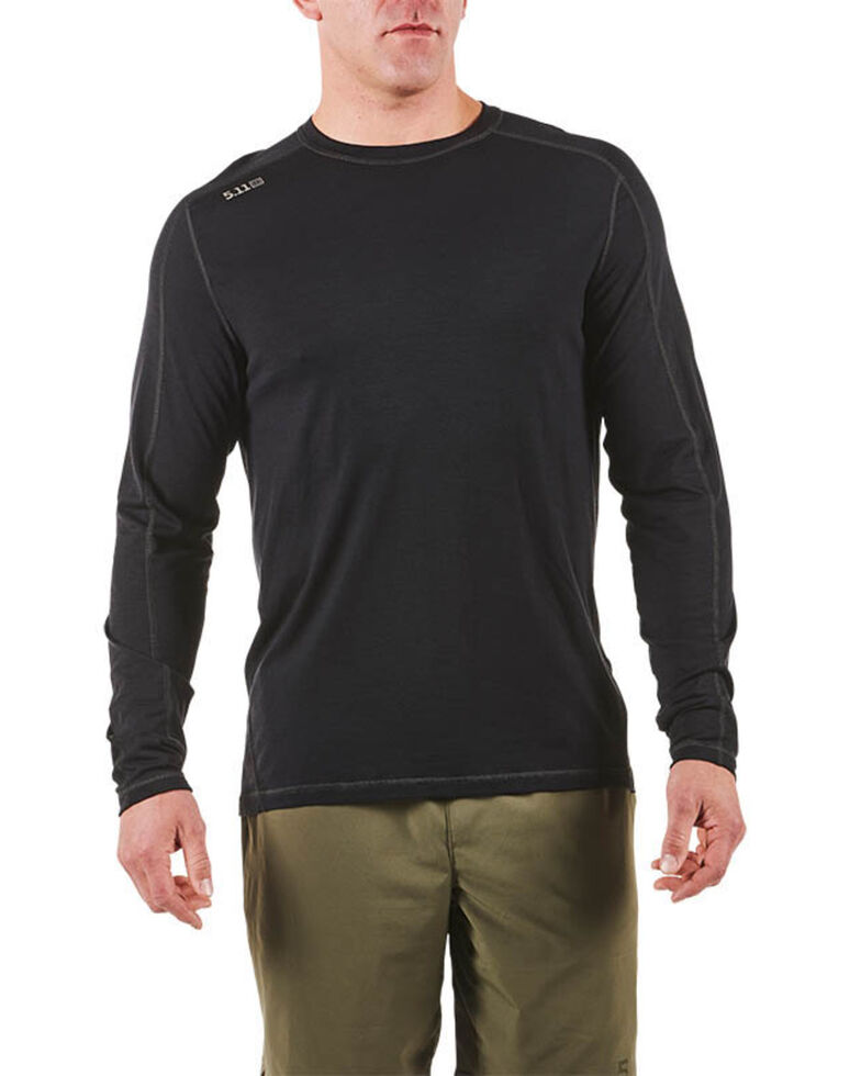 5.11 Tactical Men's Range Ready Merino Wool Long Sleeve Work T-Shirt , Black, hi-res