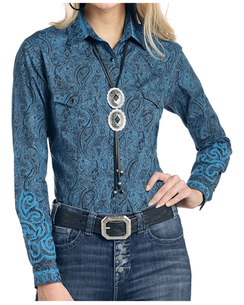 Rough Stock By Panhandle Women's Ventura Paisley Print Long Sleeve Western Shirt , Turquoise, hi-res