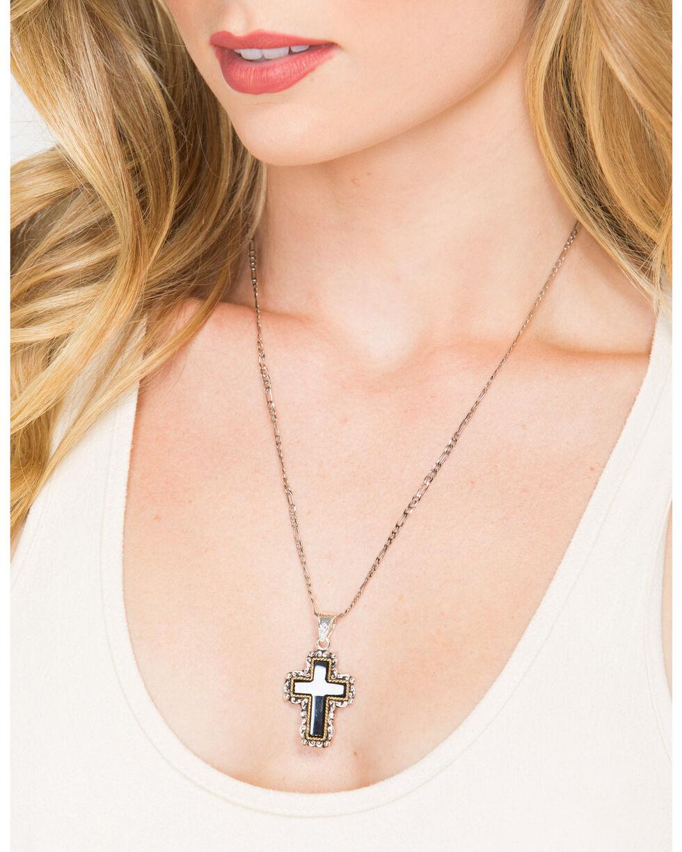 Shyanne Women's Black Cross Necklace , Silver, hi-res