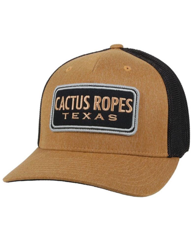 HOOey Men's Tan & Black Cactus Ropes Patch Mesh-Back Trucker Cap , Tan, hi-res