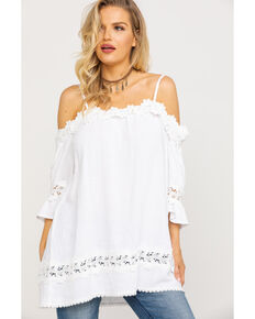 fe04edb7c2ea0 Miss Me Women s White Crochet Cold Shoulder Lace Top