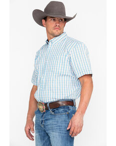 Cody James Core Men's Galena Plaid Short Sleeve Western Shirt, Blue, hi-res