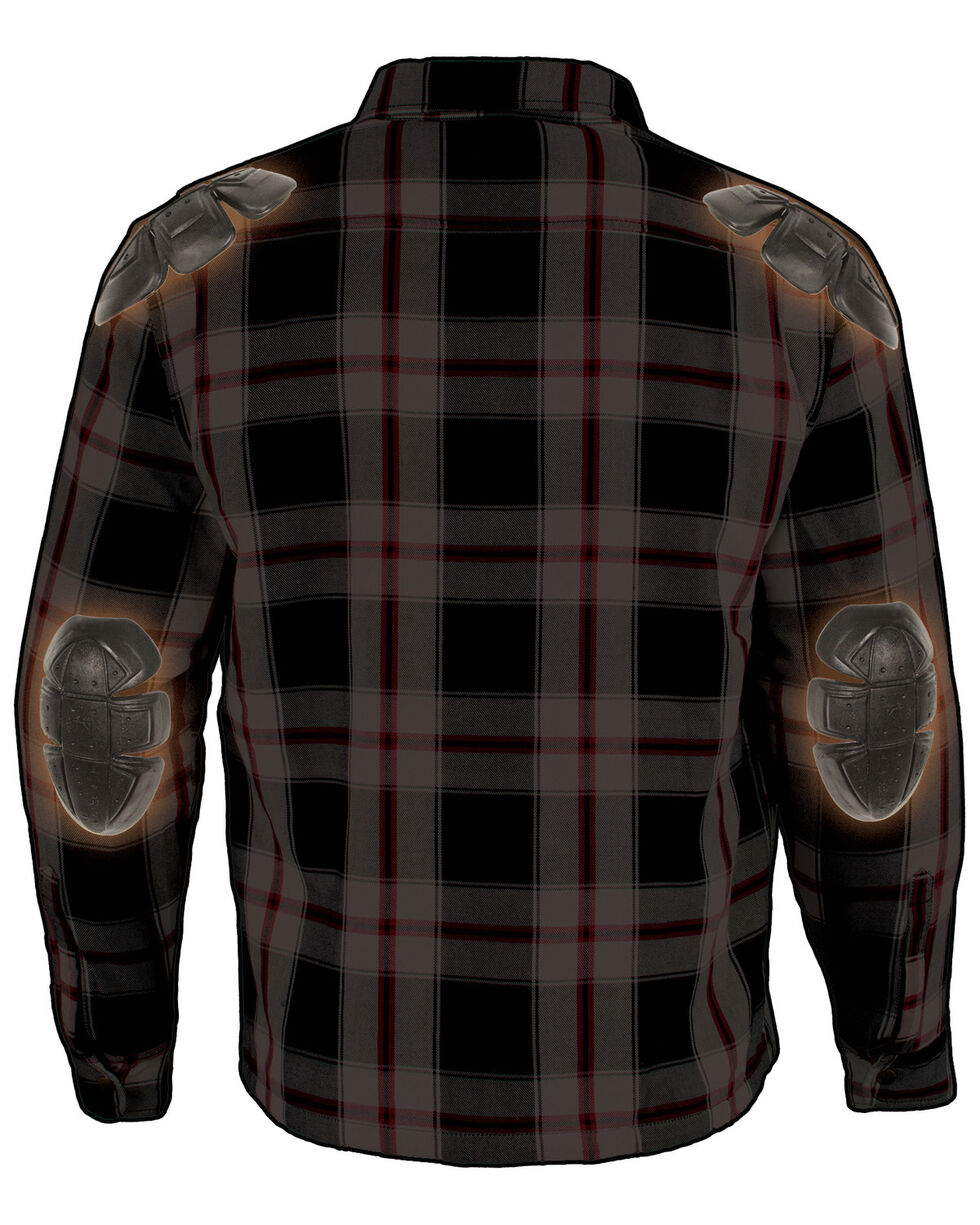 Milwaukee Performance Men's Black/White/Red Aramid Flannel Biker Jacket, Black/red, hi-res