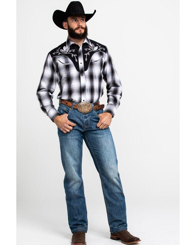 Roper Men's Fancy Multi Embroidered Plaid Long Sleeve Western Shirt , Black, hi-res