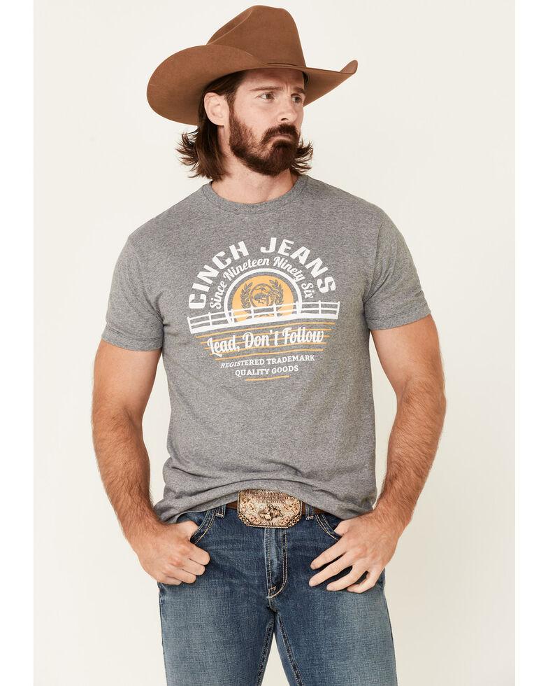 Cinch Men's Grey Lead Don't Follow Circle Graphic Short Sleeve T-Shirt , Grey, hi-res