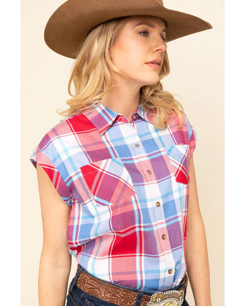 Cumberland Outfitters Women's Americana Plaid Short Sleeve Western Shirt, Red/white/blue, hi-res