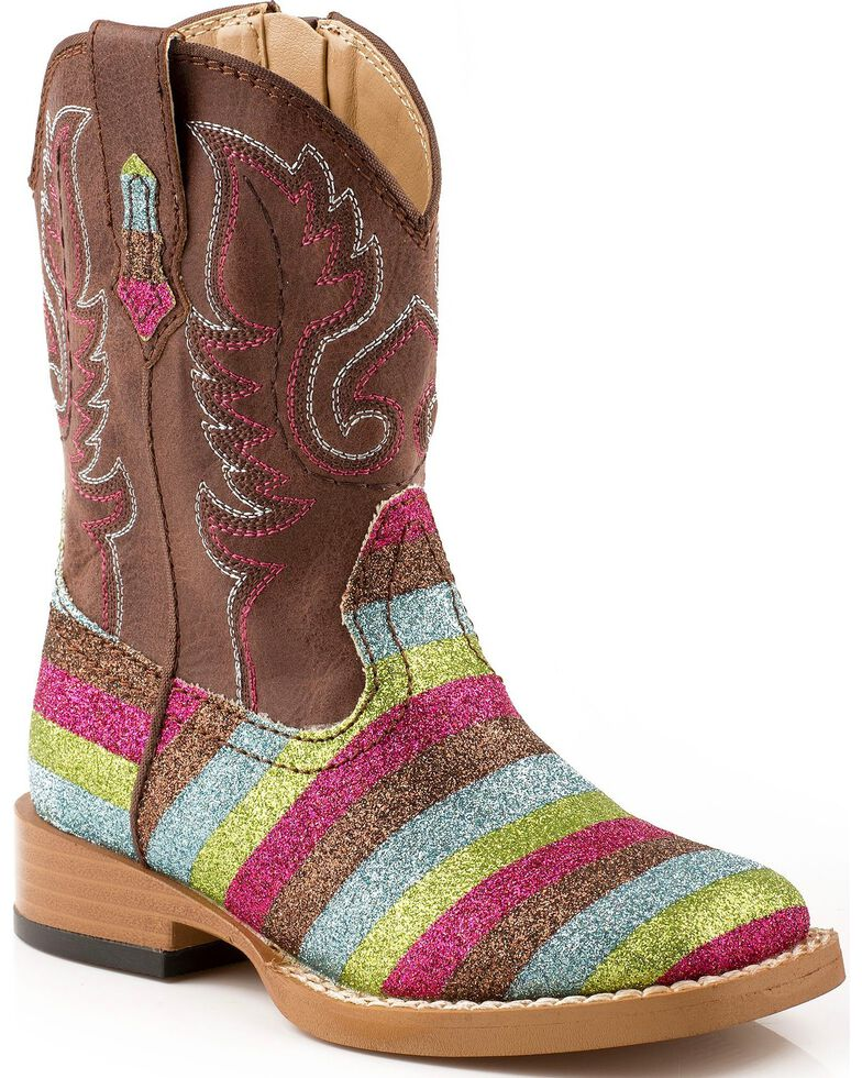 Roper Infant's Glitter Striped Western Boots, Multi, hi-res
