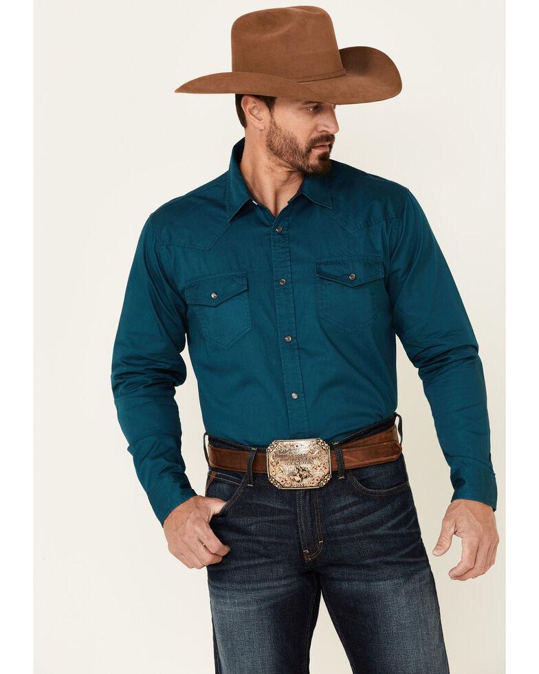 Cody James Men's Solid Blue Cornerstone Long Sleeve Western Shirt , Blue, hi-res