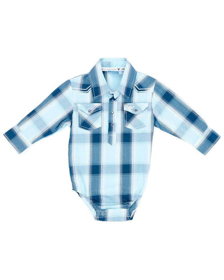 Cowboy Hardware Infant Boys' Blue Plaid Long Sleeve Snap Western Onesie , Steel, hi-res