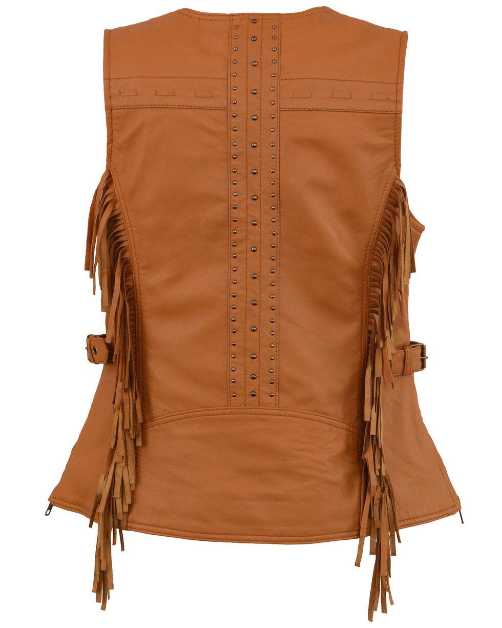 Milwaukee Leather Women's Saddle Tan Fringe Snap Front Vest - 4X, Medium Brown, hi-res