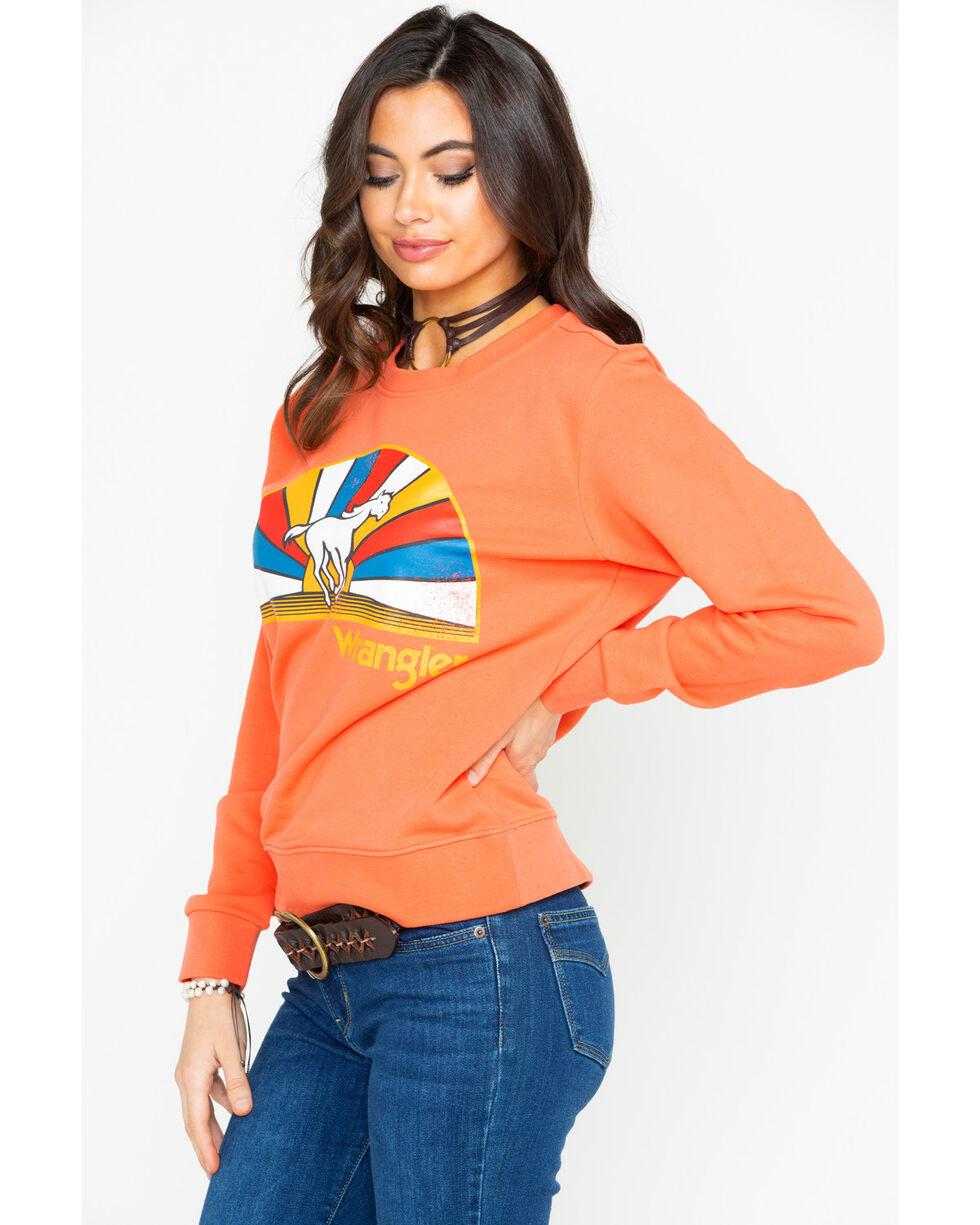 Wrangler Women's Born Ready Running Horse Neon Sweatshirt , Orange, hi-res