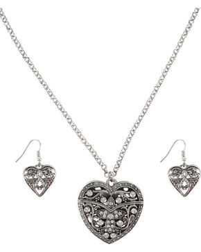 Shyanne® Women's Filigree Heart Jewelry Set, Silver, hi-res