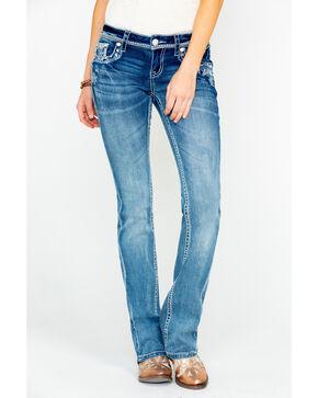 Grace In LA Women's Low Rise Medium Boot Jeans , Blue, hi-res