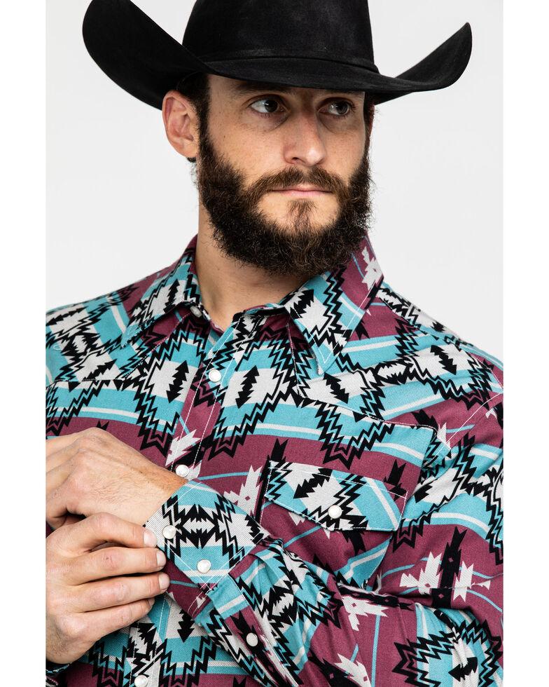 Dale Brisby Men's Multi Aztec Print Long Sleeve Western Shirt , Teal, hi-res