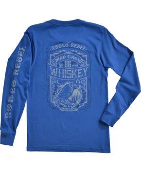 Rodeo Rebel Men's Logo Crew Neck Long Sleeve T-Shirt, Royal Blue, hi-res