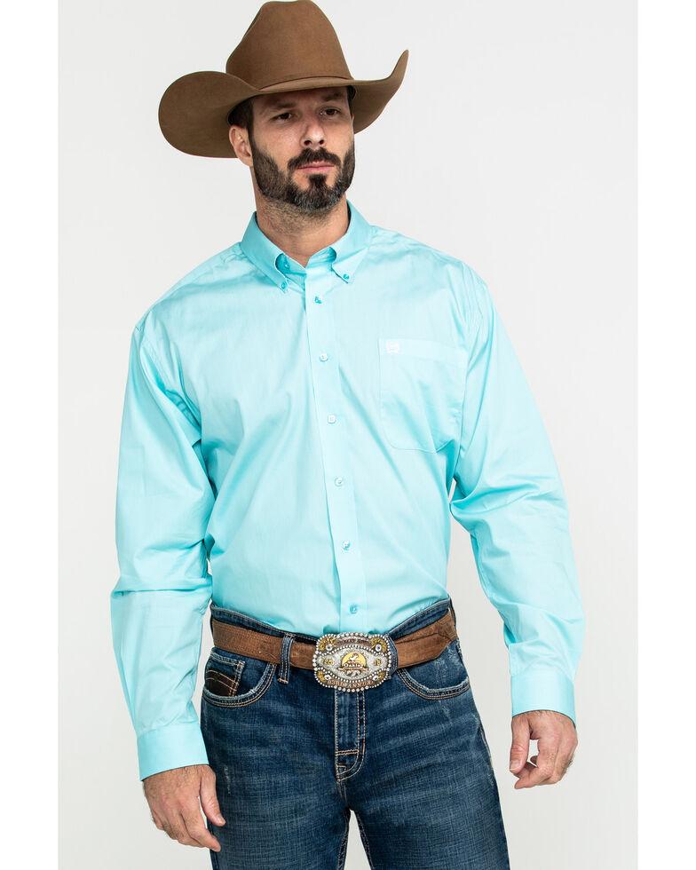 Cinch Men's Light Blue Solid Button Long Sleeve Western Shirt , Light Blue, hi-res