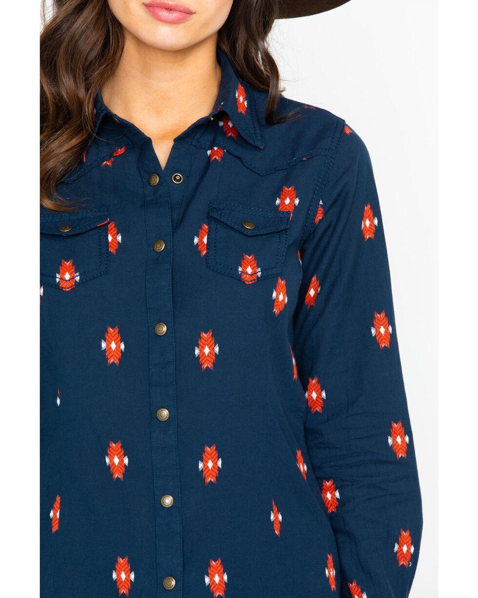 Ariat Women's Real Mesmeric Long Sleeve Western Shirt, Navy, hi-res