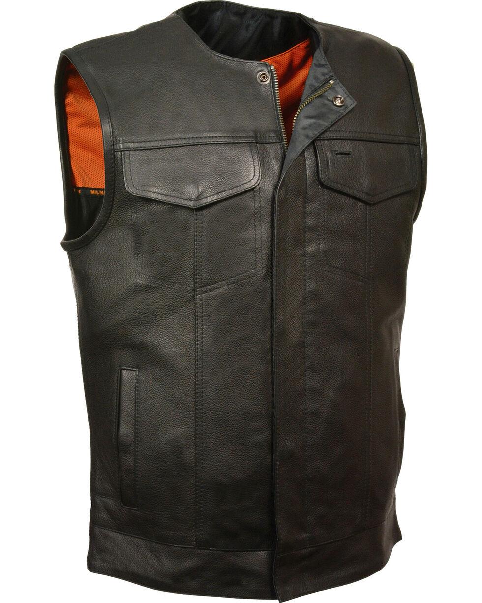 Milwaukee Leather Men's Black Collarless Club Style Vest , Black, hi-res