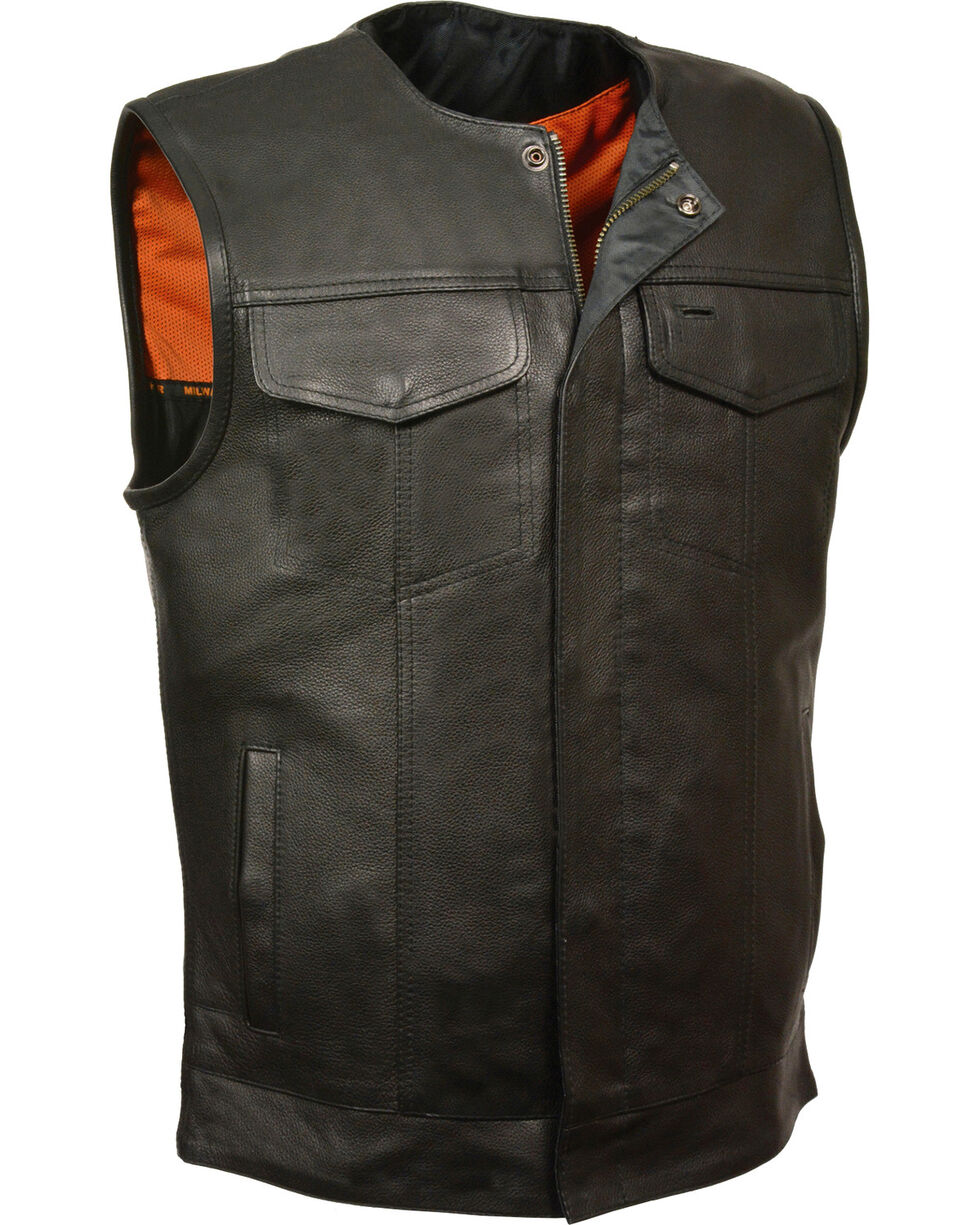 Milwaukee Leather Men's Black Collarless Club Style Vest - Big 3X, Black, hi-res
