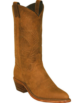 "Abilene Women's 11"" Distressed Tooled Feather Western Boots, Tan, hi-res"