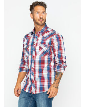Wrangler Men's Retro Premium Plaid Long Sleeve Western Shirt , Blue/red, hi-res