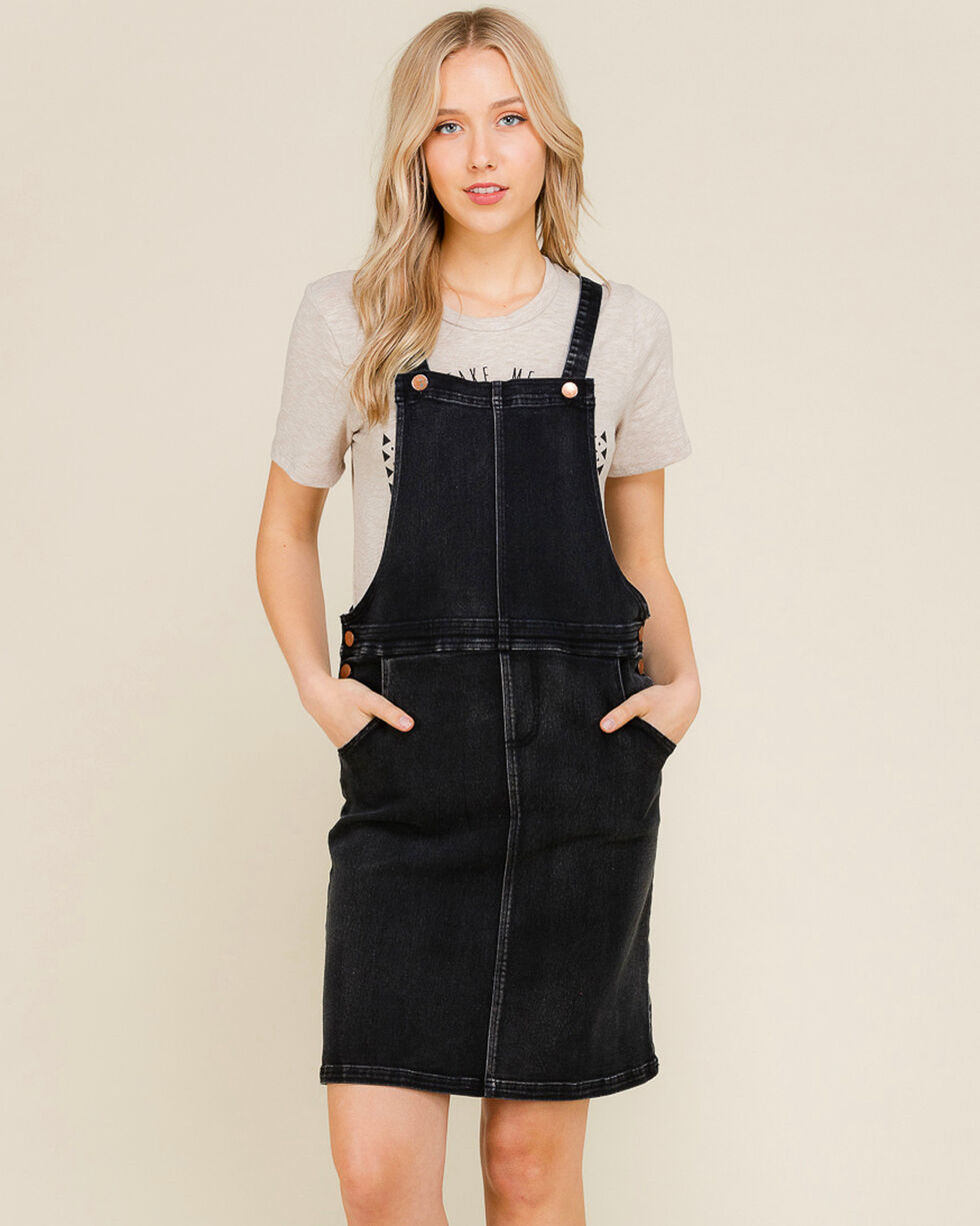 Polagram Women's Black Overall Denim Dress, Indigo, hi-res