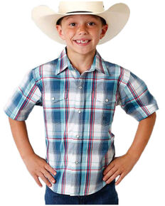 Roper Boys' Amarillo Loyal Plaid Short Sleeve Western Shirt , Blue, hi-res
