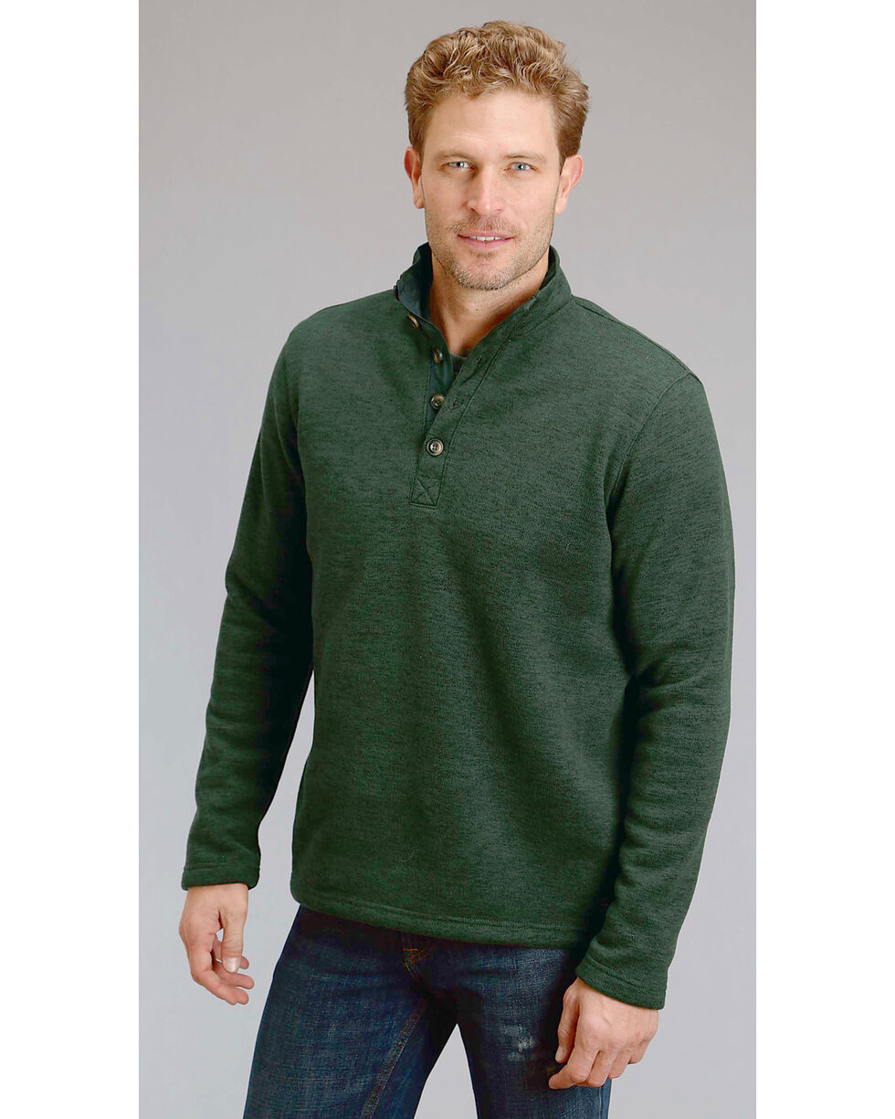 Stetson Men's Green 1/4 Button Front Knit Pullover, , hi-res