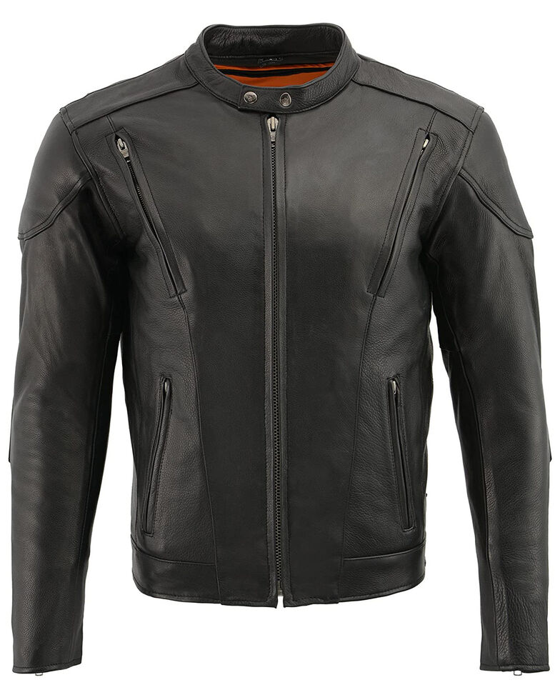 Milwaukee Leather Men's 4X Side Lace Vented Scooter Jacket - Big , Black, hi-res