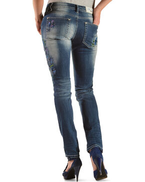 Grace in LA Floral Embroidery Skinny Jeans , Denim, hi-res