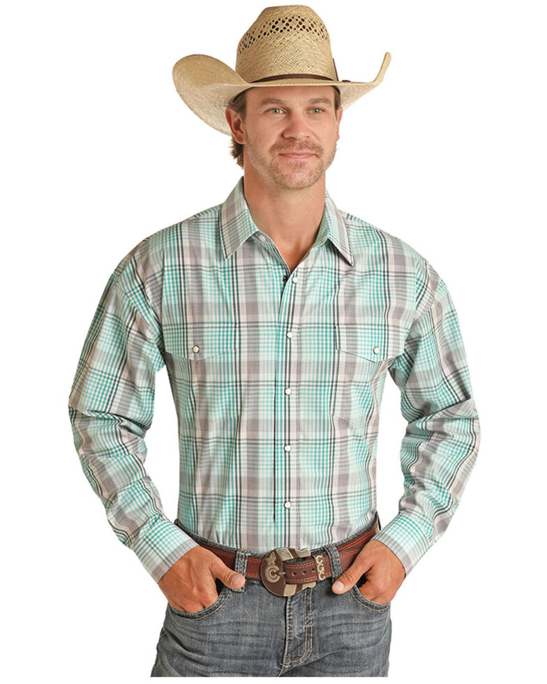 Panhandle Men's Emerald Large Plaid Long Sleeve Snap Western Shirt , Green, hi-res