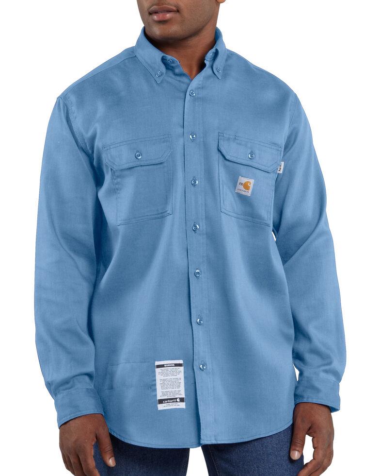 Carhartt Men's Flame Resistant Dry Twill Long Sleeve Work Shirt, Med Blue, hi-res