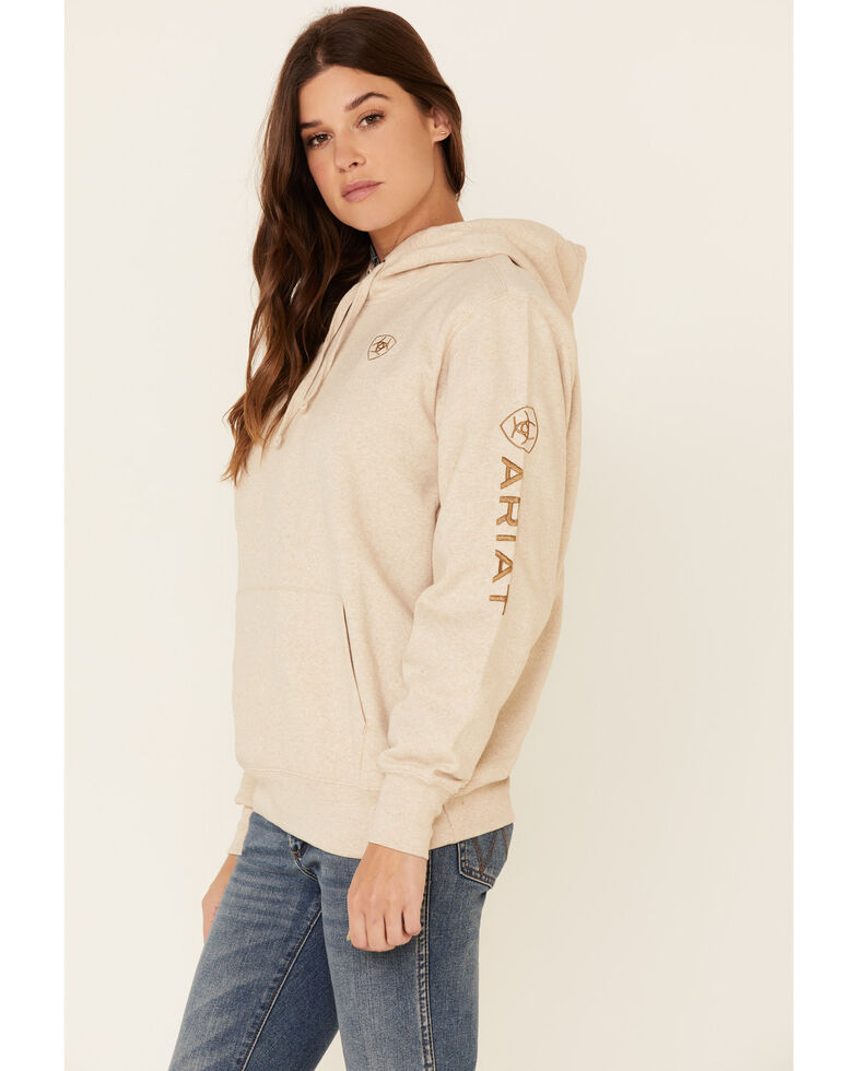 Ariat Women's Oatmeal Embroidered Logo Hoodie, Oatmeal, hi-res