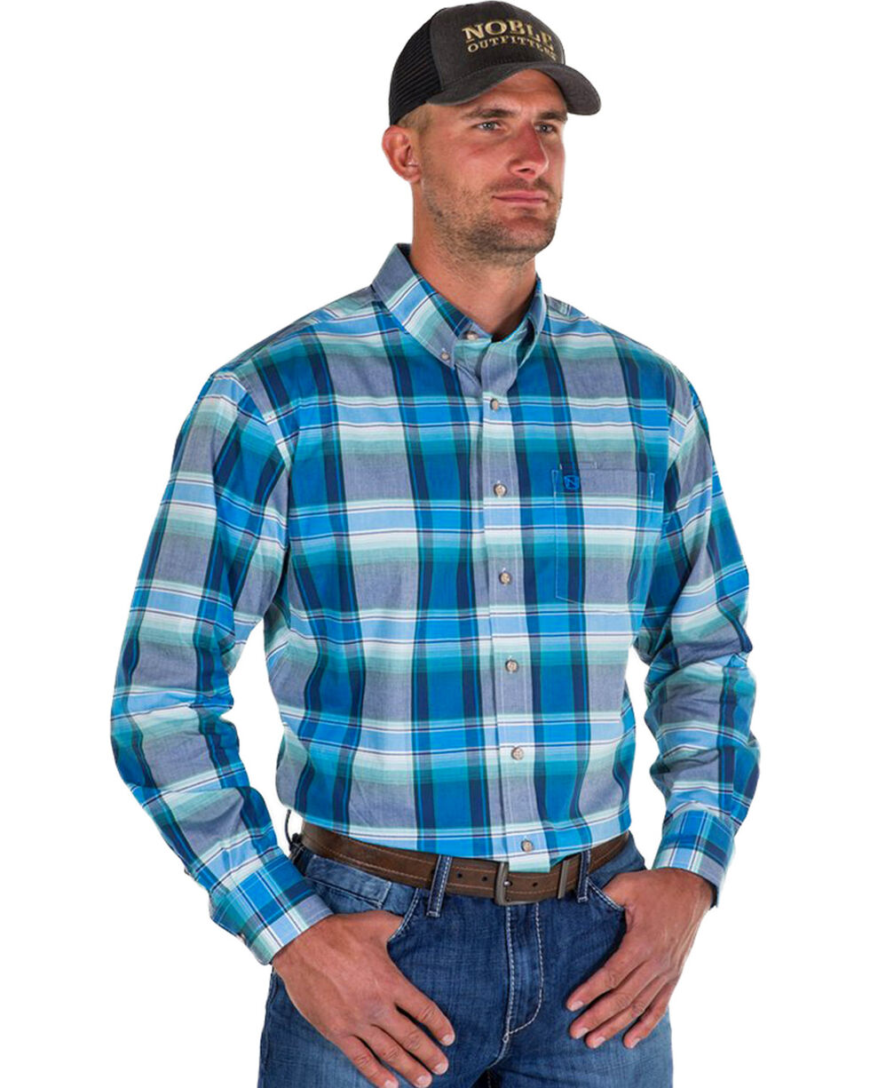 Noble Outfitters Men's Blue Generations Oxford Large Plaid Shirt , Blue, hi-res