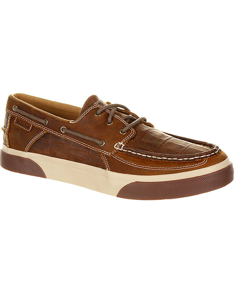 Durango Men's Brown Music City Gator Emboss Boat Shoes , Brown, hi-res