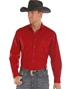 Panhandle Men's Solid Stretch Poplin Long Sleeve Western Shirt , Red, hi-res