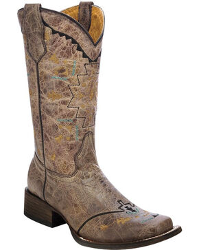 Corral Girls' Aztec Embroidery Cowgirl Boots - Square Toe , Gold, hi-res