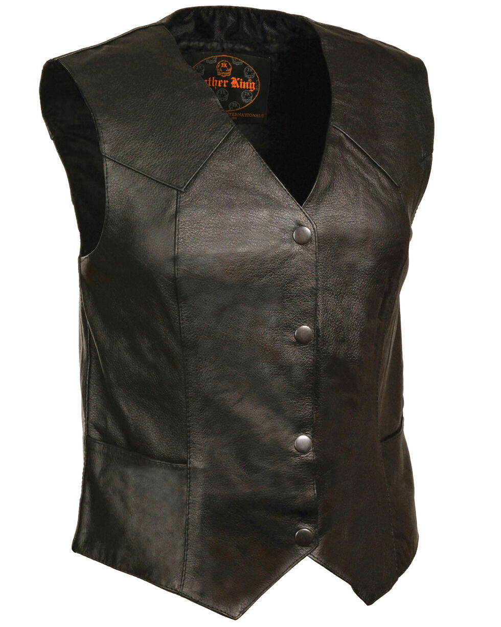Milwaukee Leather Women's Classic Four Snap Vest, Black, hi-res